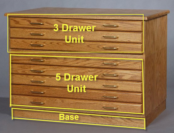 "SMI Medium Oak Finish 3 Drawer Flat File: 43"" x 13"" x 33"""