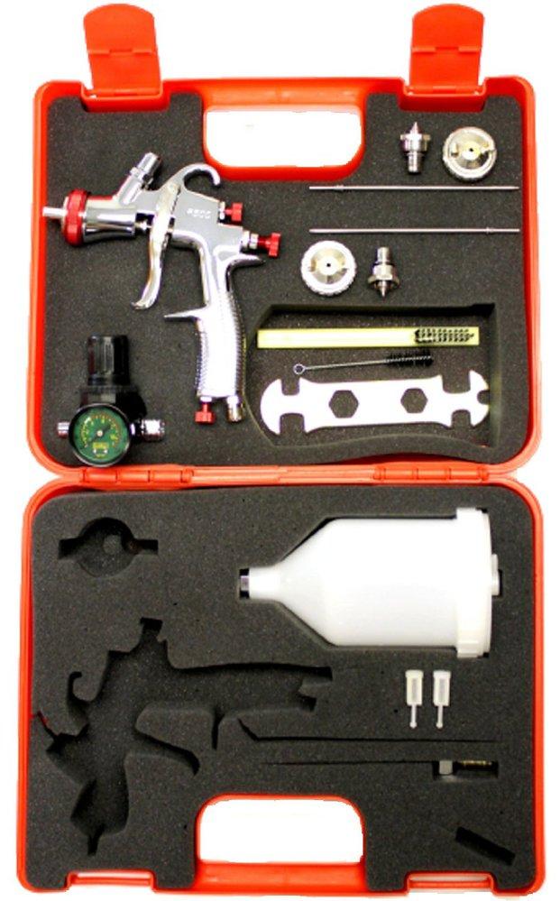 SPRAYIT SP-33000K LVLP Gravity Feed Spray Gun Kit with 1.3, 1.5, 1.7mm Needles, Air Regulator & Plastic Case