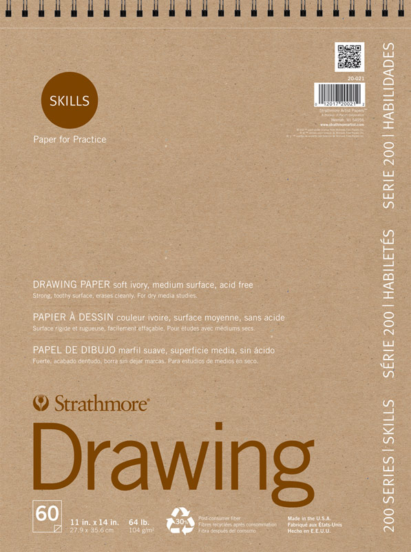 """Strathmore 200 Series Skills 11"""" x 14"""" Wire Bound Drawing Pad"""
