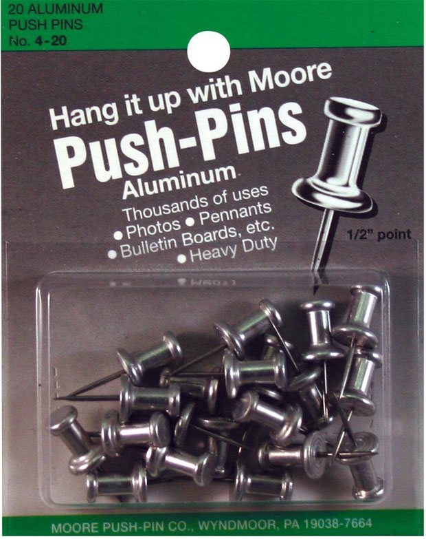 Moore Push-Pins: 1/2 Point Pack Of 20