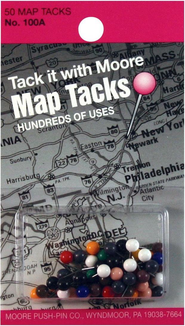 Moore Map Tacks: Pack Of 50