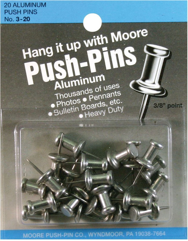 Moore Push-Pins: 3/8 Point Pack Of 20