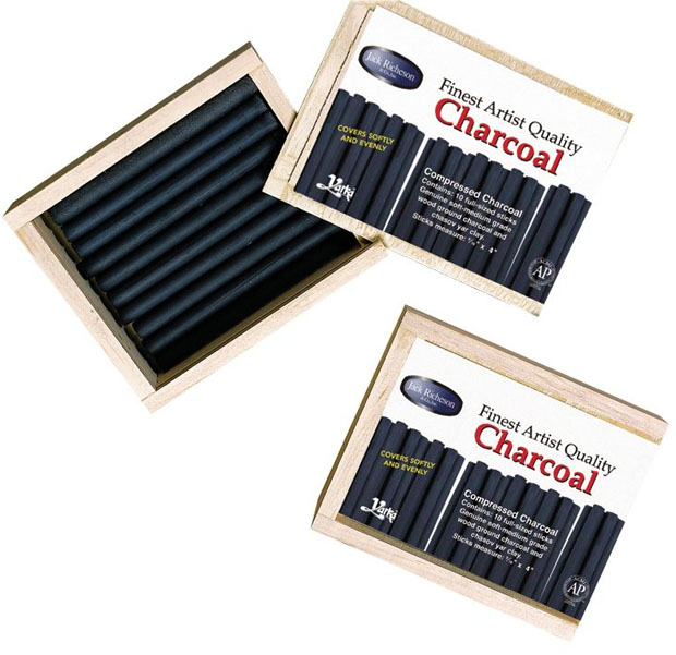 Yarka® Natural Willow And Compressed Charcoals: Wood Box Cartoon Of 10