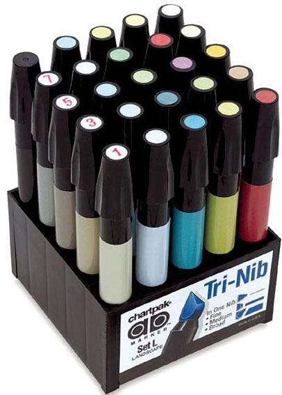 Chartpak AD Marker Color Set: Landscape, 25 Pieces