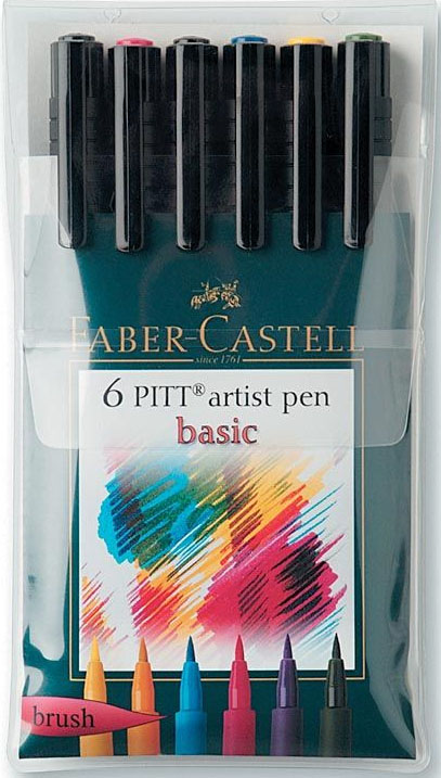 Faber-Castell Pitt Artist Brush Pen: 6 Basic Color
