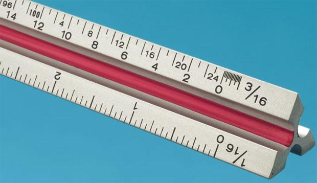 Fairgate Series T Solid Aluminum Triangular Scale: Scale, Eng, 6 Inch , Aluminum, Triangular