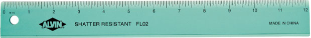 Alvin Plastic 12 Inches Ruler: Wide 12 Inch Assorted