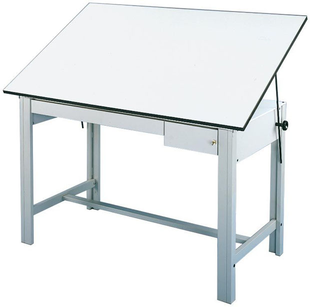 "Alvin DesignMaster Table: Gray Base, 2 Gray Drawers, 37 1/2"" x 72"", 166 lbs."