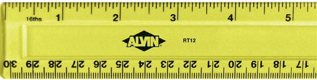 Alvin Plastic 12 Inches Ruler: Fluorescent