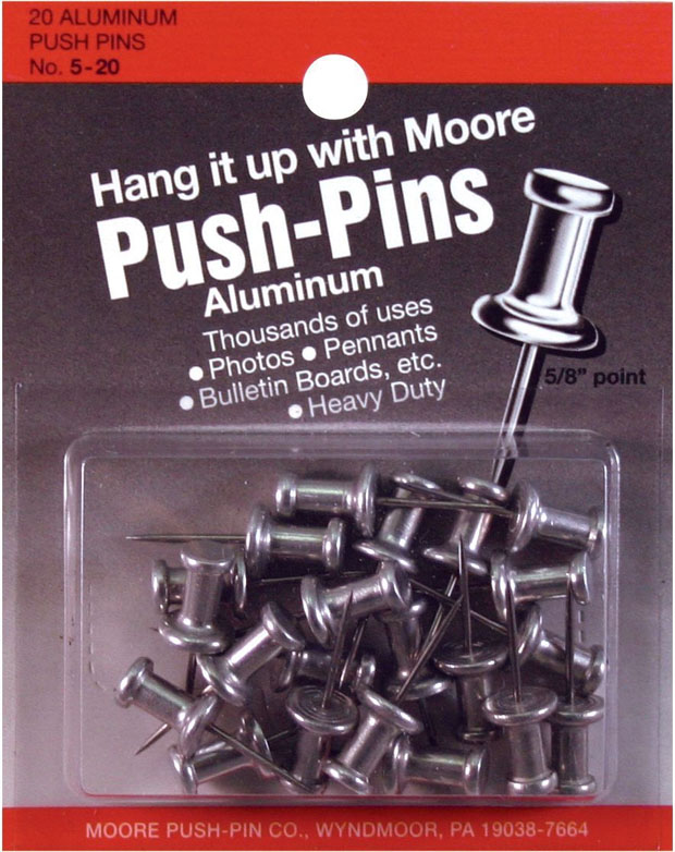 Moore Push-Pins: 5/8 Point Pack Of 20