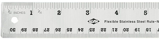Alvin Flexible Stainless Steel Ruler: 6 Inch
