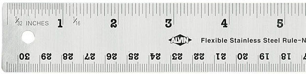 Alvin Flexible Stainless Steel Ruler: 36 Inches