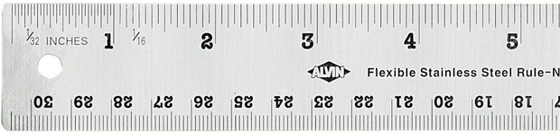 Alvin Flexible Stainless Steel Ruler: 24 Inches