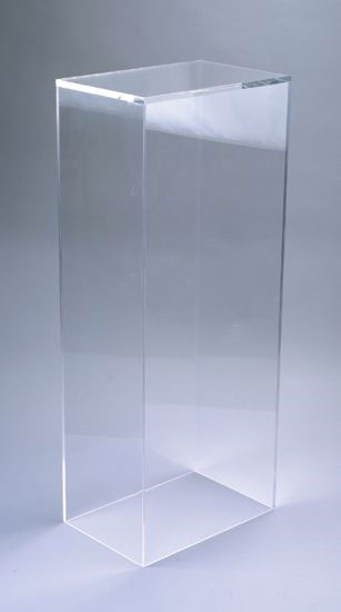 Xylem Clear Acrylic Pedestal: Table Top Size, 13 Inches Height