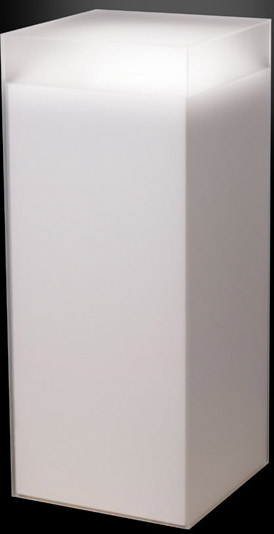 Xylem Frosted Acrylic Pedestal: Size 11-1/2 x 11-1/2 inches, Height 42 inches