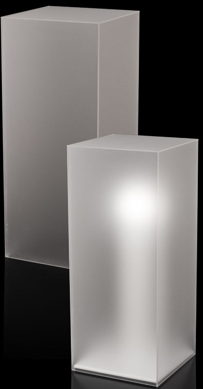 Xylem Frosted Acrylic Pedestal: Size 11-1/2 x 11-1/2 inches, Height 12 inches