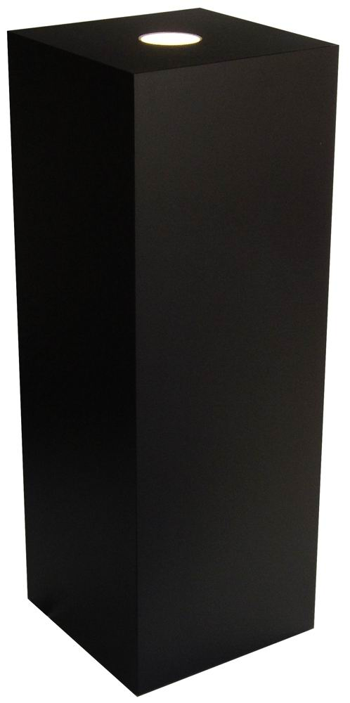 Xylem Black Laminate Spot Lighted Pedestal: 15 x 15 Inch Size, 24 Inch Height