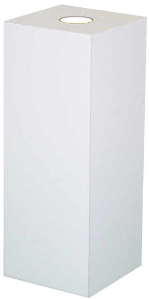 Xylem White Laminate Spot Lighted Pedestal: Size 23 x 23 inches, Height 30 inches