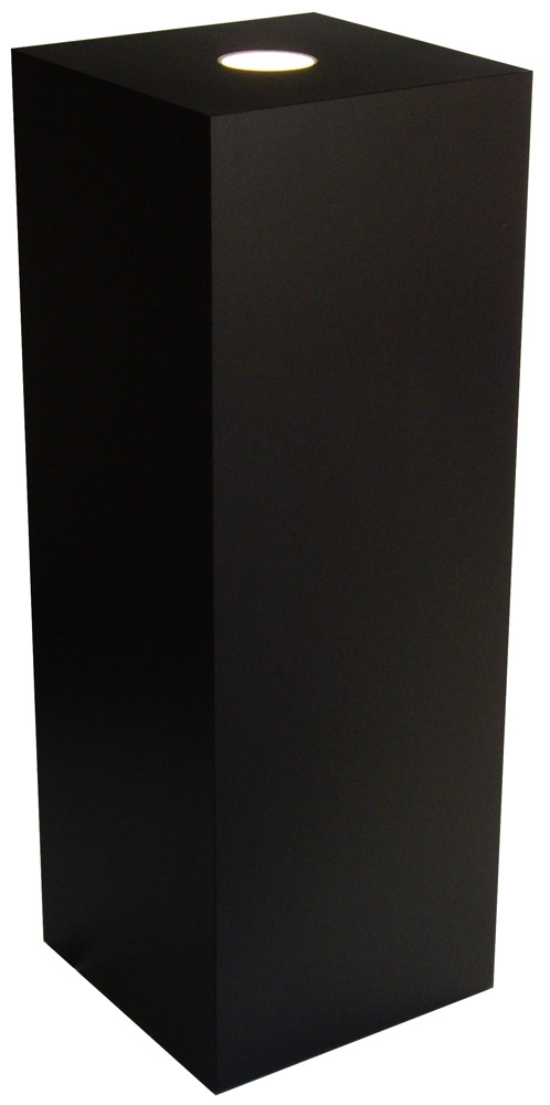 Xylem Black Laminate Spot Lighted Pedestal: Size 23 x 23 inches, Height 30 inches