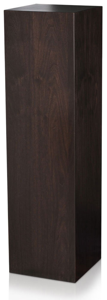 Xylem Ebony Walnut Wood Veneer Pedestal: 15 x 15 Inches Size, 12 Inches Height