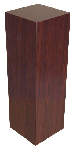 Xylem Mahogany Stained Wood Veneer Pedestal: 15 X 15 Inches Size, 24 Inches Height