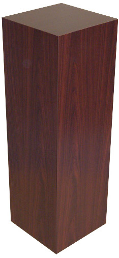 Xylem Mahogany Stained Wood Veneer Pedestal: Size 18 X 18 inches, Height 30 inches