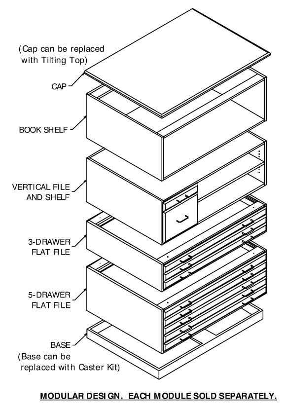 SMI Medium Oak Steel Drawer Guide Flat File Bookshelf