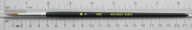 Kolinsky Sable 1001 Round # 5 Brush: Full Length Shot with Rulers