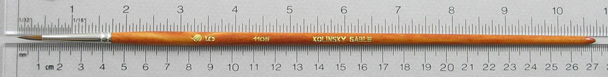 Kolinsky Sable 1105 Round # 5 Brush: Full Length Shot with Rulers