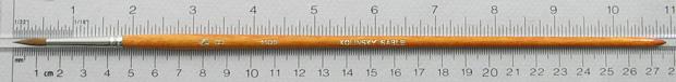 Kolinsky Sable 1105 Round # 8 Brush: Full Length Shot with Rulers