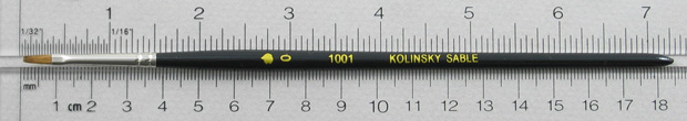 Kolinsky Sable 1001 Bright # 0 Brush: Full Length Shot with Rulers