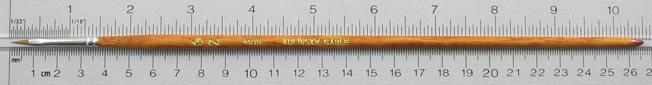 Kolinsky Sable 1105 Filbert # 2 Brush: Full Length Shot with Rulers