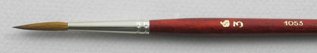 Kolinsky Sable 1053 Script Liner # 3 Brush: Head Shot