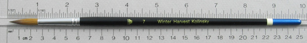 Winter Harvest Kolinsky Sable Long Hair Round # 7 Brush: Full Length Shot with Rulers