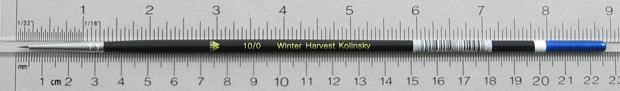 Winter Harvest Kolinsky Sable Long Hair Round # 10/0 Brush: Full Length Shot with Rulers