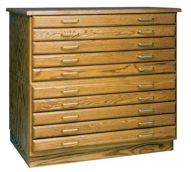"SMI Medium Oak Finish 3 Drawer Flat File: 55"" x 14"" x 44"""