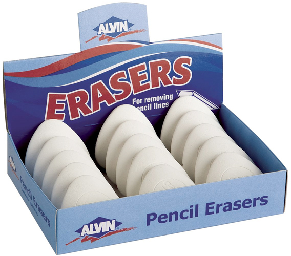 Alvin White Triangular Vinyl Erasers 15pcs