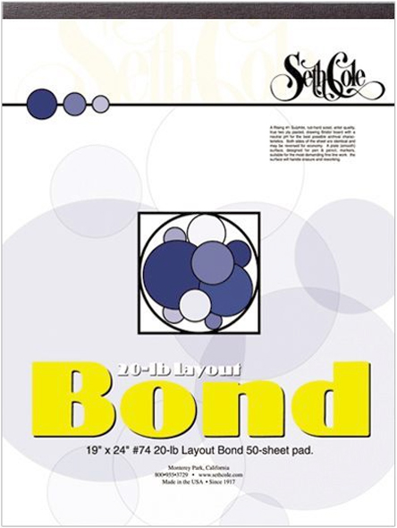Alvin Seth Cole Layout Bond Paper 19 x 24inches 50Sheet Pad 20Lb.