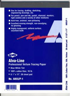 Alvin Alva-Line Vellum Tracing Paper With Title Block And Border - Blue-White Tint 17 x 22inches 100Pk