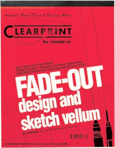 Alvin Clearprint 1000HP® Vellum 8.5 x 11inches Grid 4 x 4inches 50 Sheet Pad