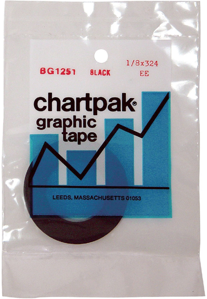 "Chartpak Graphic Tape: Black Gloss, 1/8"" x 324"""