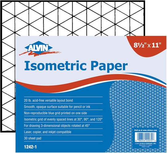 Alvin Isometric Paper 11 x 17inches 30 Sheet Pad