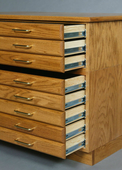 SMI Medium Oak Steel 3 Drawer Guide Flat File
