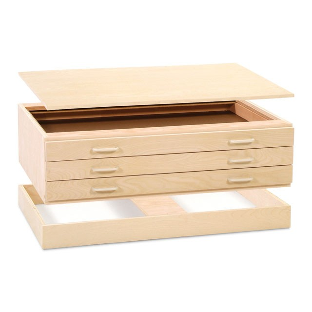 "SMI Natural Oak Finish 3 Drawer Flat File: 49"" x 13"" x 39"""