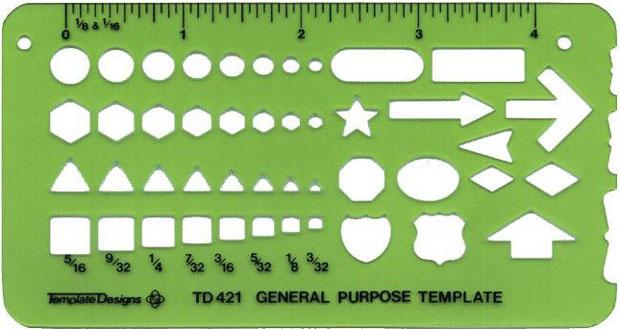 Alvin General Purpose Template: 2 3/4 x 5 1/4 x .030 inches