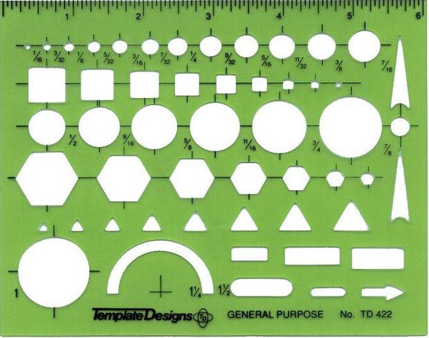 Alvin General Purpose Template: 4-7⁄8 x 6-1⁄8 x .030 inches