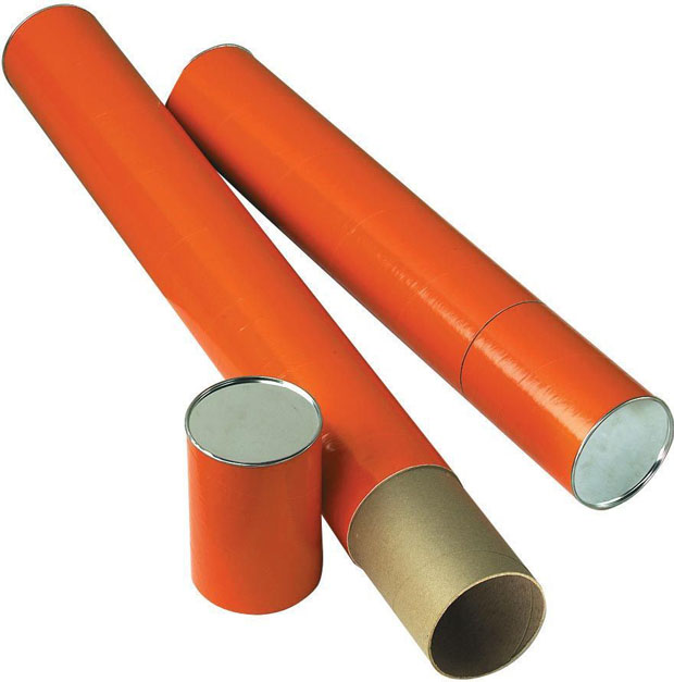 Alvin Fiberboard Mailing Tube: 25 X 4 Inches, Orange