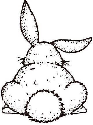 Sarasota Stamps Mounted Rubber Stamp: Bunny Butt