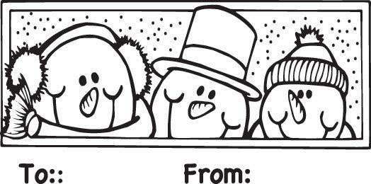 Sarasota Stamps Mounted Rubber Stamp: Snowmen To/From