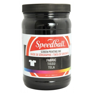 Speedball® Fabric Screen Printing Ink Black ; Color: Black/Gray; Format: Jar; Ink Type: Fabric; Size: 32 oz; Type: Screen Printing; (model 4600), price per each